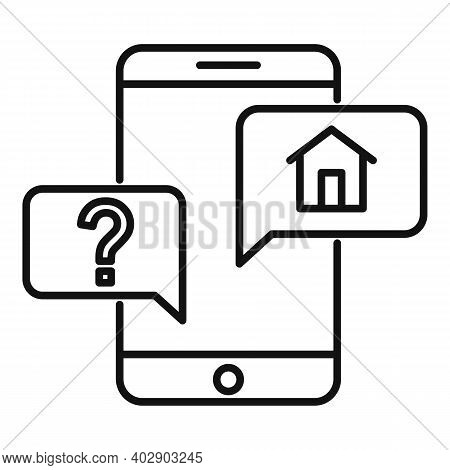 Realtor Smartphone Icon. Outline Realtor Smartphone Vector Icon For Web Design Isolated On White Bac