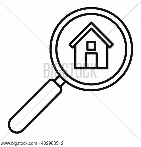 Realtor Magnifier Icon. Outline Realtor Magnifier Vector Icon For Web Design Isolated On White Backg