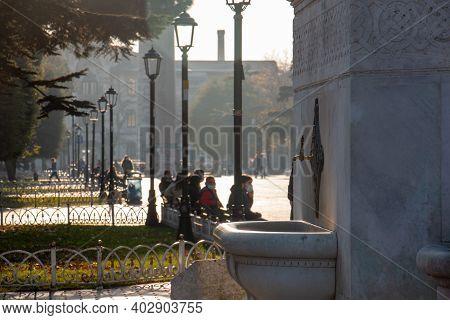 November 4, 2020 İstanbul / Turkey Sultanahmet - German Fountain