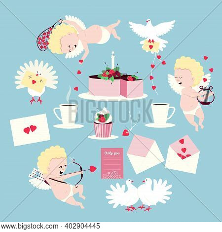 Set For Valentine's Day, Cupids, Cake, Doves, Love Letters. Cupids Play  Music On Lyre Strings, Draw
