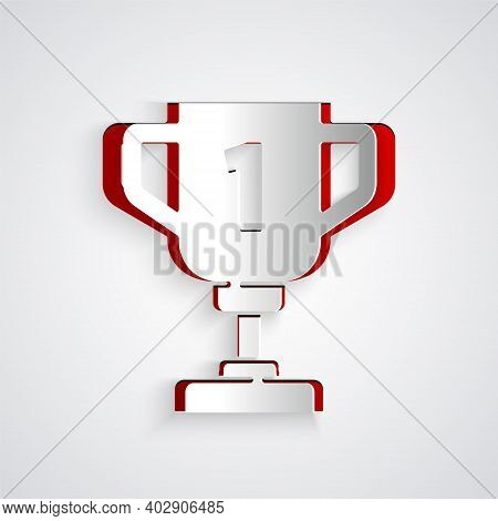 Paper Cut Award Cup Icon Isolated On Grey Background. Winner Trophy Symbol. Championship Or Competit