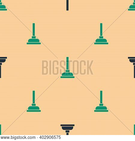 Green And Black Rubber Plunger With Wooden Handle For Pipe Cleaning Icon Isolated Seamless Pattern O