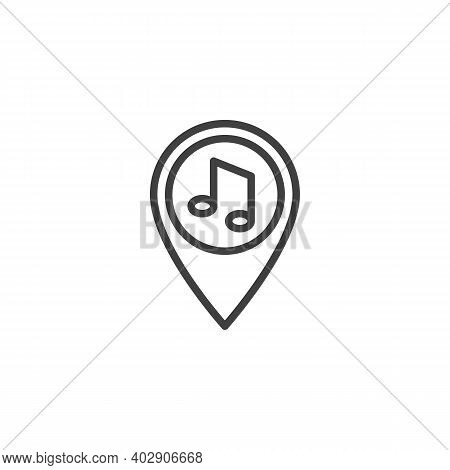 Party Location Pin Line Icon. Linear Style Sign For Mobile Concept And Web Design. Map Maker With Mu
