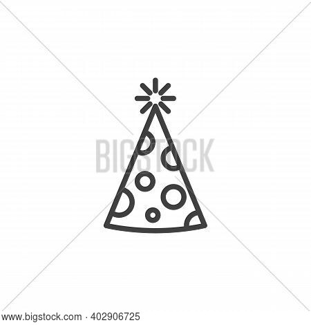 Party Hat Line Icon. Linear Style Sign For Mobile Concept And Web Design. Cone Hat For Party Outline