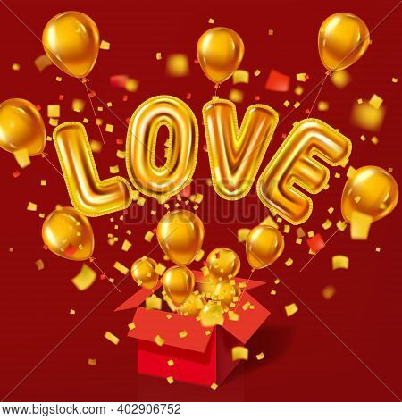Open Red Gift Box, Love Gold Helium Metallic Glossy Balloons Realistic, Burst Foil Confetti. Backgro