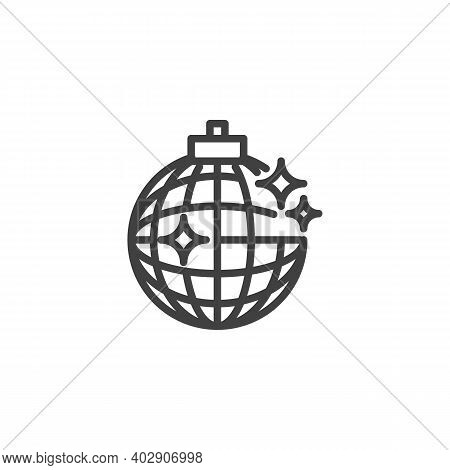 Disco Ball Line Icon. Linear Style Sign For Mobile Concept And Web Design. Disco Party Ball Outline