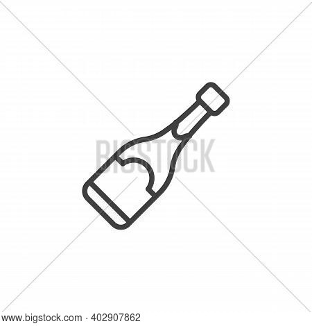 Champagne Bottle Line Icon. Linear Style Sign For Mobile Concept And Web Design. Champagne Bottle Ou