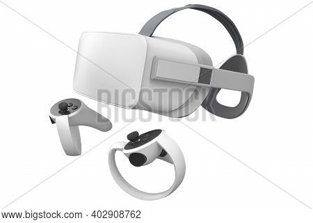Virtual Reality Glasses And Controllers For Online And Cloud Gaming Isolated On White With Clipping