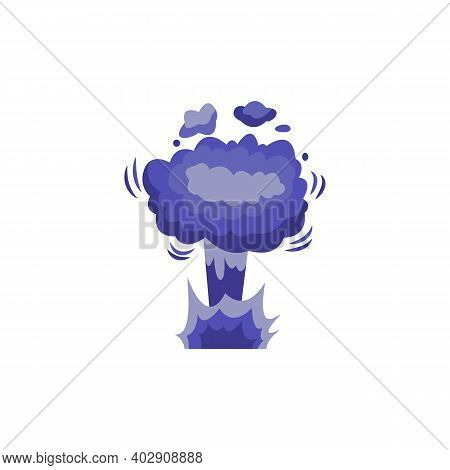Bomb Explosion Blowing Up Clouds, Cartoon Flat Vector Illustration Isolated.