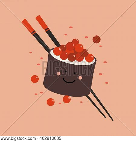 Cute Smiling Roll With Caviar With Chopsticks Vector Illustration. Eastern National Food. Traditiona