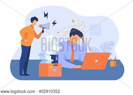 Furious Boss With Megaphone Shouting At Frustrated Employee. Exhausted Office Worker Feeling Headach