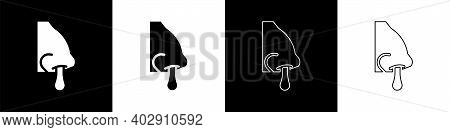 Set Runny Nose Icon Isolated On Black And White Background. Rhinitis Symptoms, Treatment. Nose And S