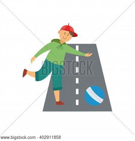Child In Unsafe Situation Plays On The Road, Flat Vector Illustration Isolated.
