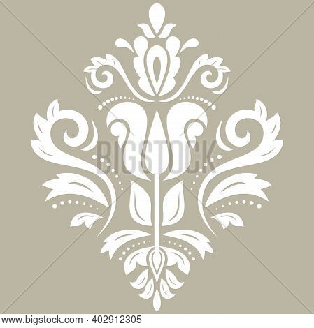 Oriental Vector Pattern With Arabesques And Floral Elements. Traditional Classic White Ornament. Vin
