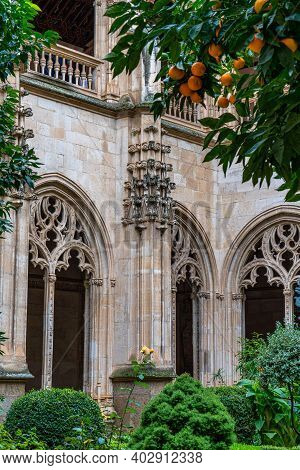 Gothic Atrium Of Monastery Of San Juan De Los Reyes In The Old City Of Toledo, Spain, Unesco World H