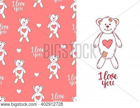 Lovesick Toy Bear Pink Seamless Pattern. Cute Background For Valentine's Day And Wedding, Print On F