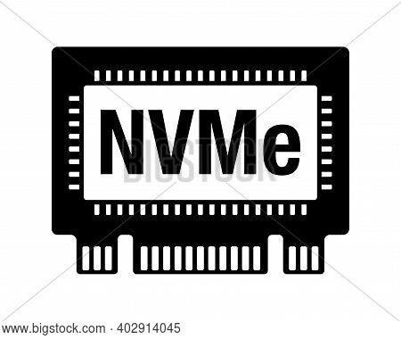 Nvm Express, Nvme Ssd Device Flat Icon - Non-volatile Storage Media Attached Via Pci Express Bus. Ve