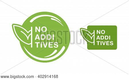 No Additives Flat Sign For Healthy Natural Food Products Composition Labels - Vector Isolated Pictog
