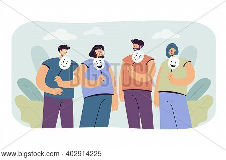 Depressed And Angry People Holding Masks With Happy Faces For Hiding Their Emotions. Vector Illustra