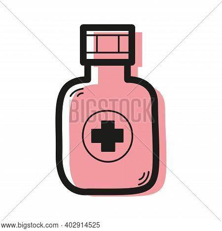 Vector Linear Color Icon In The Form Of A Bottle With A Medical Cross . Pharmacology Concept.