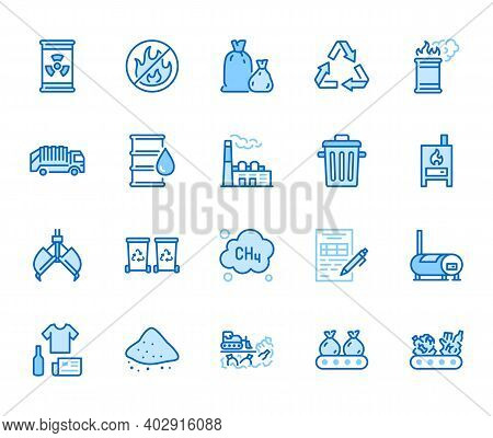 Waste Recycling Flat Line Icons Set. Garbage Bag, Truck, Incinerator Factory, Container, Bin, Rubbis