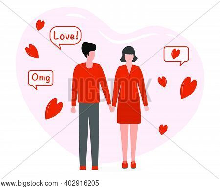 Vector Illustration Man And Woman Holding Hands. Together. People During Romantic Relationships Coup