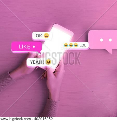 Social media flirty texting with pink media mix