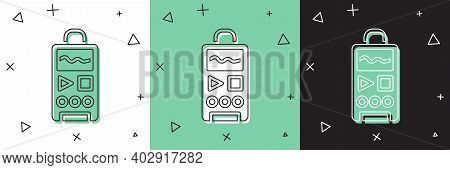 Set Dictaphone Icon Isolated On White And Green, Black Background. Voice Recorder. Vector