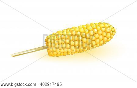 Tasty Maize Dessert On Stick, Sugar Corn, Delicious Snack. Vector Vegetable Noggin With Grains, Cere