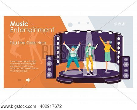 Music Entertainment Landing Page. Music Band Dancing And Singing On Stage At Karaoke Bar, Night Club