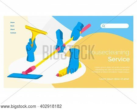 Cleaning Equipment Landing Page Template. Professional Cleaning Service Website Interface. Housekeep