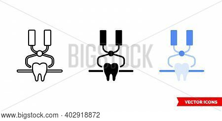 Tooth With Forceps Icon Of 3 Types Color, Black And White, Outline. Isolated Vector Sign Symbol.