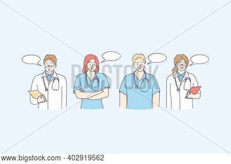 Medical Workers Doctors Communication Concept. Young Medical Staff People Cartoon Characters Standin