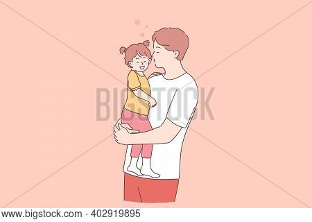 Happy Father And Daughter Concept. Young Positive Father Cartoon Character Holding Little Daughter O