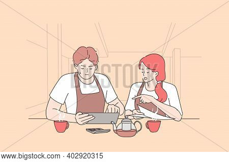 Bankrupt And Calculating Restaurant Expenses Concept. Worried Woman And Man Owners Sitting In Empty