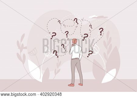 Making Decision About Strategy And Business Development Way Concept. Businessman Cartoon Character S