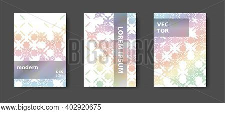 A4 Rainbow Title Design With Arabic Mosaic. Disintegration Geometric Poster Set. Vector A4 Title, Ma
