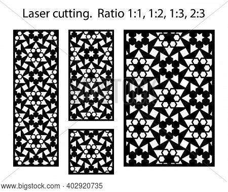 Cnc Template Set. Laser Pattern. Set Of Geometric Decorative Vector Panels, Screens, Dividers For La