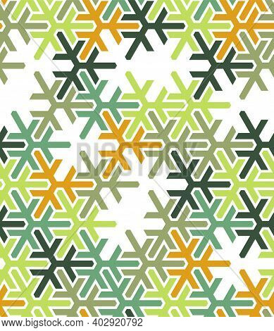 Geometric Green Islamic Pattern. Color Geometric Arabic Vector Texture For Cloth, Textile, Wrapping,