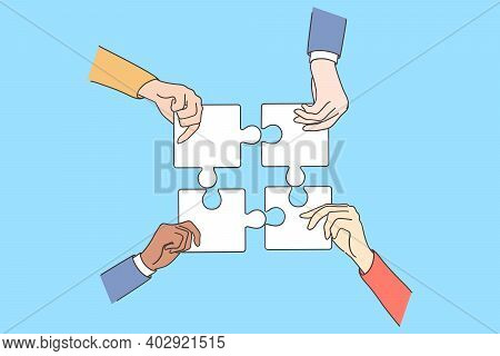 Teamwork, Collaboration, Suites Strategy Concept. Group Of Business People Partners Colleagues Hands