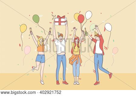 Celebrating, Party, Birthday Concept. Group Of Happy Young People Friends Cartoon Characters In Fest