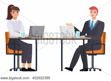 Office Staff, Work And Communication. Head And Subordinates. Various Workers, Managers Team. Busines