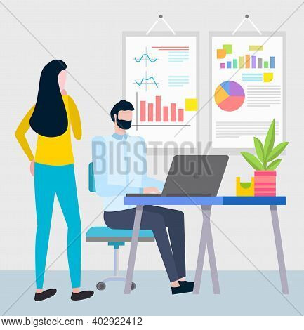 People Working In Office Vector, Woman Giving Task To Employee. Employer Checking Male Sitting By La