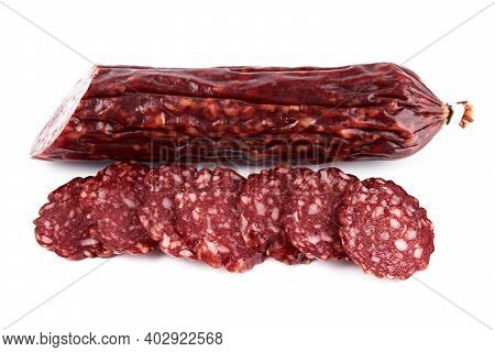 Salami Smoked Sausage Piece Isolated On White Background. Salami, Salami Smoked Sausage. Smoked Meat