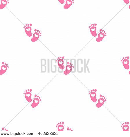 Pink Kids Or Baby Feet And Foot Steps Seamless Ornament. New Born, Pregnant Or Coming Soon Child Foo
