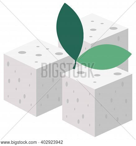 Three Cubes Of Sugar Isolated On White Background. Pressed Sweeteners Vector Illustration. Sugar For