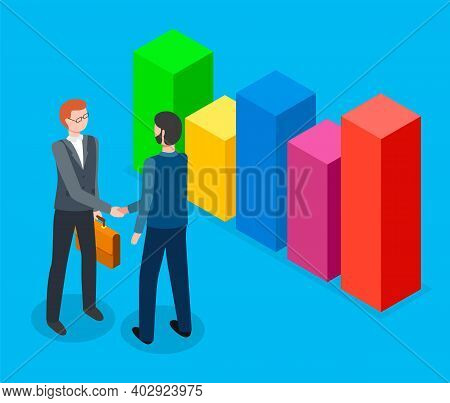 Handshake Of Two Businessman Vector Illustration. Successful Partnership, Business People Cooperatio