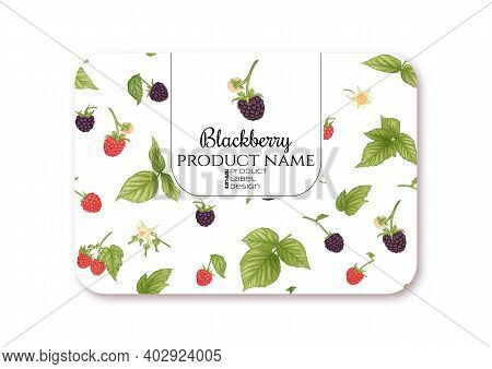 Blackberry. Ripe Berries On Branch. Template For Product Label, Cosmetic Packaging. Easy To Edit. Gr