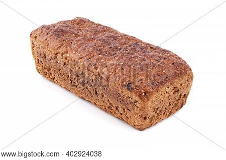 Loaf Of Whole Grain Bread. Detailed Close-up Of Sliced Grain Bread On White Background. Homemade Hea