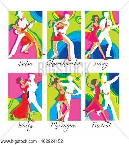 Latin American And Ballroom Dances: Waltz, Salsa, Cha-cha-cha, Foxtrot, Merengue, Swing. Illustratio